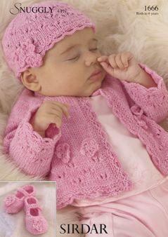 Sirdar Baby Cardigan & hat Pattern Number 1666