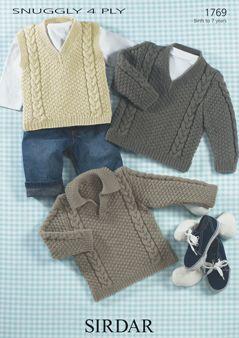 Sirdar Baby Sweater & Slipover Pattern Number 1769