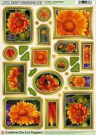 Creative Die Cut Toppers Orange Flowers