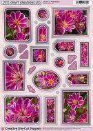 Creative Die Cut Toppers Pink Flowers