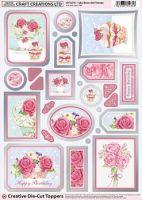 Creative Die Cut Toppers Cake Roses & Teacups