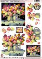 Die Cut Decoupage Vase Of Anemones