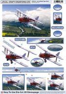 Die Cut Decoupage 3d Tiger Moth Aircraft