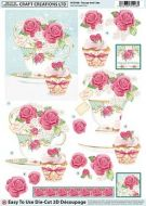Die Cut Decoupage 3d Teacup & Cake