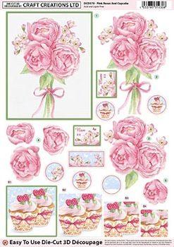 Die Cut Decoupage 3d Pink Roses & Cupcake