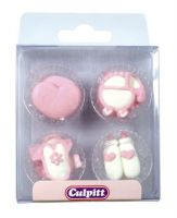 Piped Mixed Baby Decorations Pink