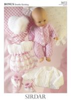 Knitted Doll's Clothes Sirdar Leaflet 3072