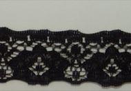 20mm Straight Black Nylon Lace