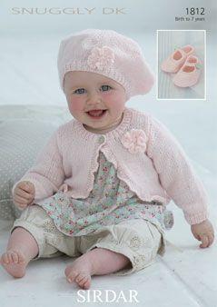 Sirdar Baby Girl Cardigan & Beret Pattern Number 1812