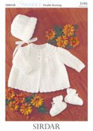 Sirdar Baby Matinee Coat bootees & Bonnet Pattern no 3191
