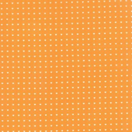 Moda Bump to Baby Orange with White Hearts