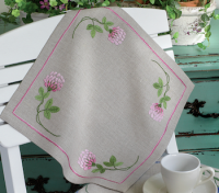 Anchor Pink Clover Linen Tablecloth Embroidery Kit