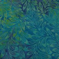 Moda De La Sol Batiks Turquoise Leaves