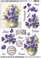 Cc Die Cut 3d vase Of Pansies