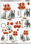 Cc Die Cut 3d Cat With Poppies