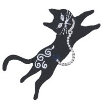 Embroidered Motif BLING CAT