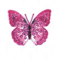 Embroidered Motif PINK SEQUIN BUTTERFLY