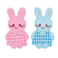 Embroidered Motif PINK & BLUE BUNNIES