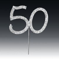 Diamante Number 50 on stem Silver