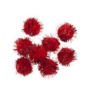 Glitter Pom Poms 1in: Red