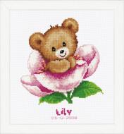 Vervaco Flower Teddy Birth Record Cross Stitch Kit