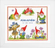 Vervaco Gnome Birth Record Cross Stitch Kit