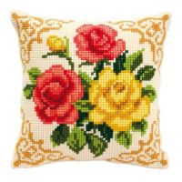 Cross Stitch Cushion Kit Mixed Roses by Vervaco