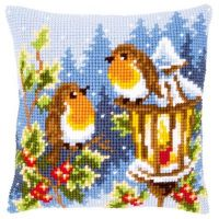 Cross Stitch Kit: Cushion: Robins at the Lantern by Vervaco
