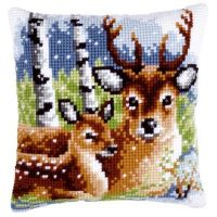 Cross Stitch Kit: Cushion: Deer Family by Vervaco