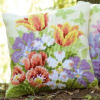 Cross Stitch Cushion Kit Spring Flowers by Vervaco