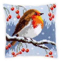 Cross Stitch Kit: Cushion: Red Robin in the Winter by Vervaco