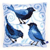 Cross Stitch Kit: Cushion: Blue Birds by Vervaco
