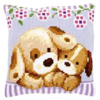 Cross Stitch Kit: Cushion: Cuddling Dogs by Vervaco