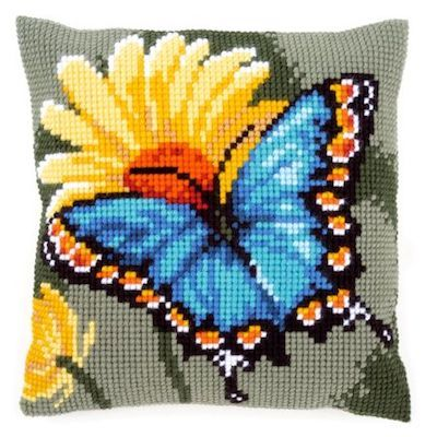 Cross Stitch Cushion Kit Butterfly & Yellow Flower by Vervaco