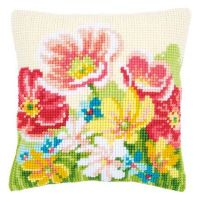 Cross Stitch Cushion Kit Summer Flowers by Vervaco