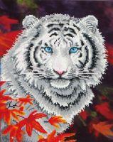Diamond Painting Kit White Tiger in Autumn