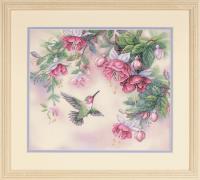 Hummingbird and Fuchsias Stamped Cross Stitch Kit