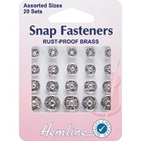 Snap Fasteners Assorted Silver