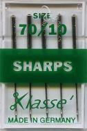 Klasse Sewing Machine Needles Sharp 70/10
