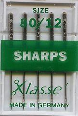 Klasse Sewing Machine Needles Sharps 80/12