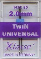 Klasse Sewing Machine Needles Twin Universal 80/2mm