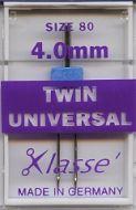 Klasse Sewing Machine Needles Twin Universal 80/4mm