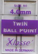 Klasse Sewing Machine Needles Twin Ballpoint 80/3mm