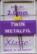 Klasse Sewing Machine Needles Twin Embroidery 80/2mm