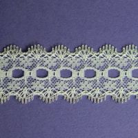 Knit-in Eyelet Lace White & Silver 30mm