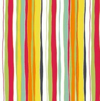 Makower Meadow Poppy Stripe