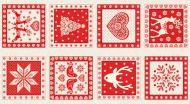 Makower Scandi Squares Red