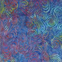 Moda Salsa Batiks Wine/ Blue Scrolls
