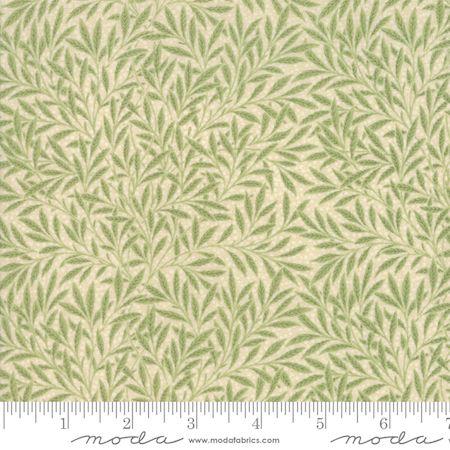 Moda  Morris Garden Green Leaf on Cream