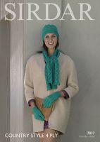 Sirdar Leaflet 7837 4ply Hat, Scarf & Gloves